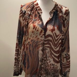 Olivaceous sheer long sleeved  animal print blouse